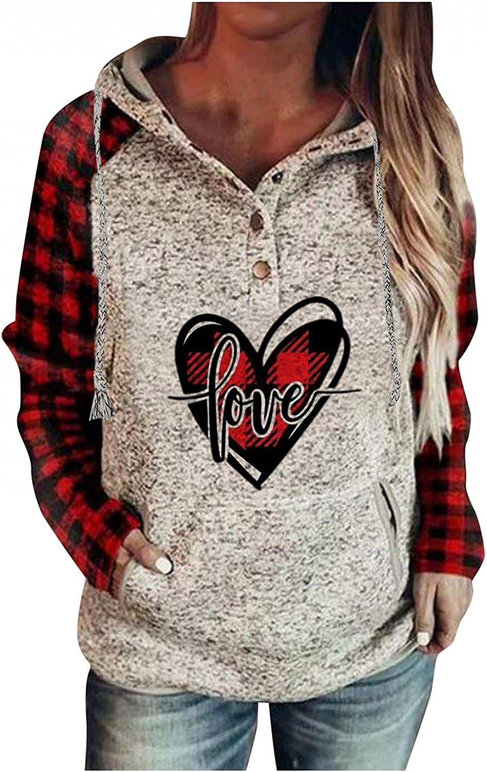 HUOJING Hooded Pullover Womens Marble 70% OFF Outlet Hoodies Plai Buffalo Brand new Print