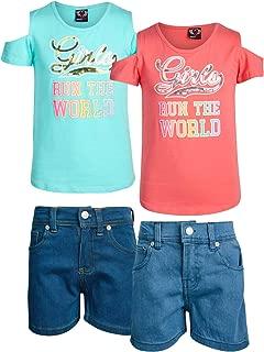 Real Love - Juego de Pantalones Cortos de Mezclilla con Parte Superior Tejida para niñas (4 Piezas, 2 Juegos completos)
