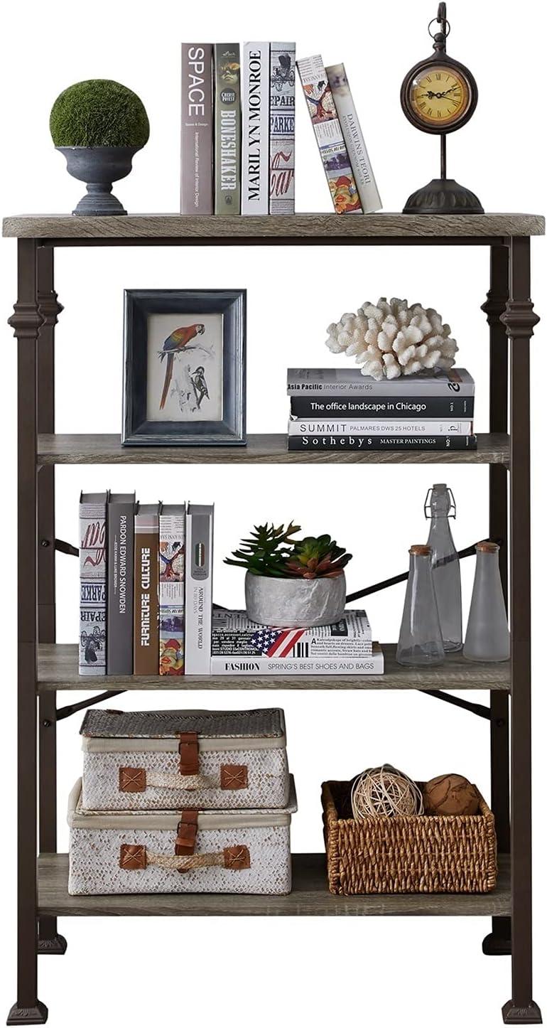 Industrial Bookcase Award-winning store 4 Tier Rustic Bookshelf Frame Metal Manufacturer regenerated product Storage