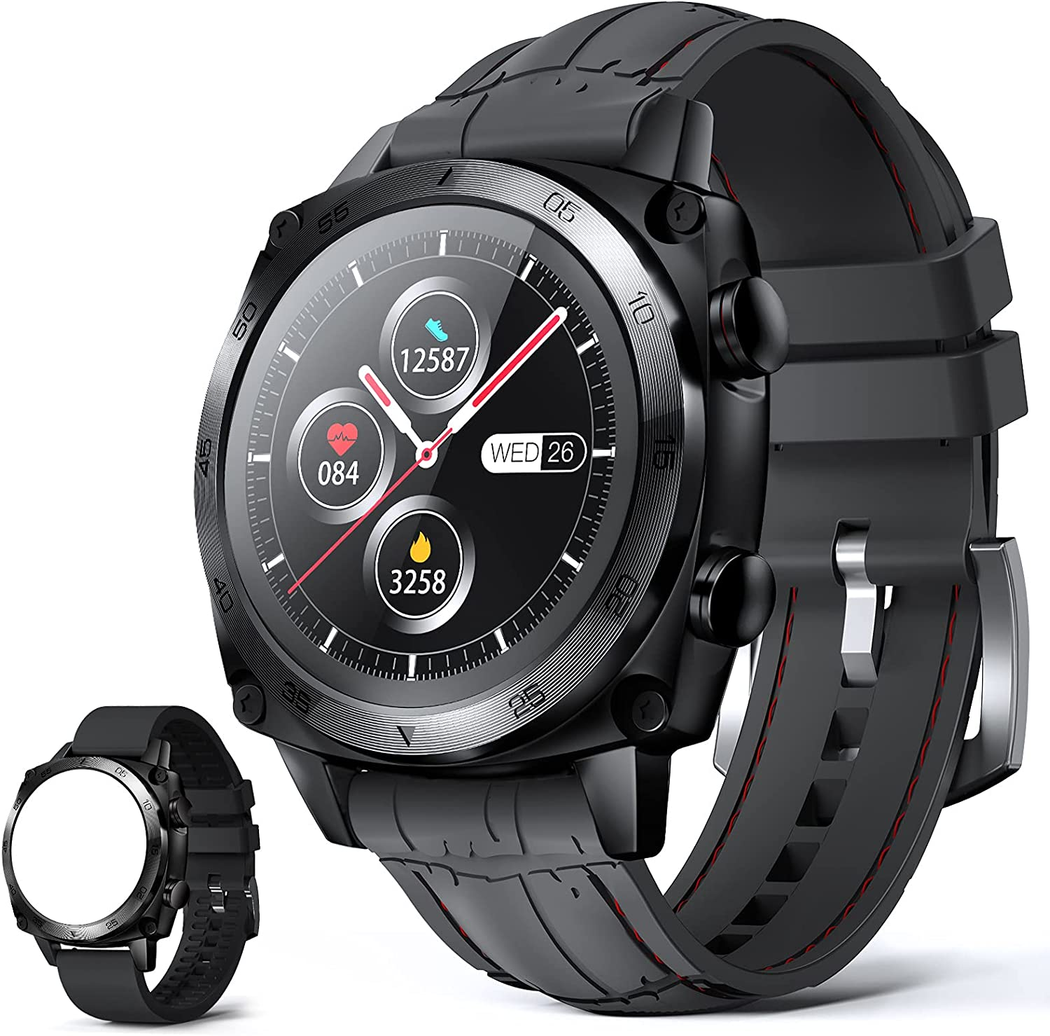 Men Smart Watches, CUBOT Waterproof Fitness Tracker with Heart Rate Monitor, Bluetooth Smartwatch for Android Phones Compatible with iPhone Samsung, Full Touch Screen Sleep Step Monitor, Black