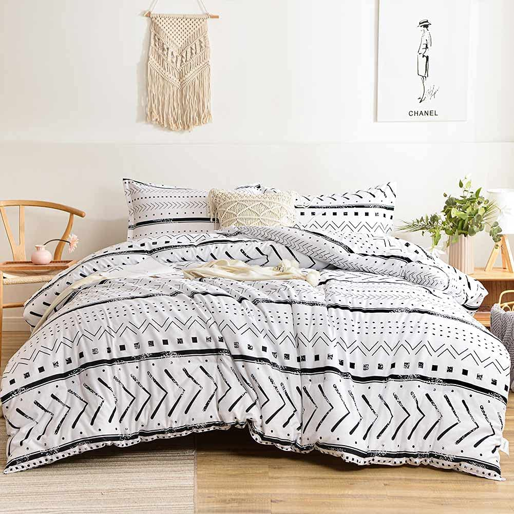 Nanko Max 71% OFF A surprise price is realized Queen Comforter Set White Black Boho Geometry Prin Striped