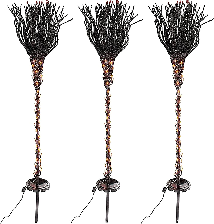 Challenge the lowest price of Japan ☆ Halloween Pre Lit Max 54% OFF Broomstick Pathway Luminous Garden Br Markers