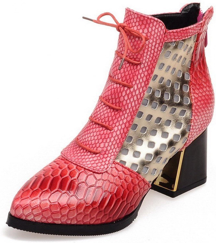 AllhqFashion Women's Zipper Kitten-Heels PU Assorted colors Low-top Boots