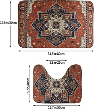 DPQZ Bathroom Rugs Sets 2 Piece Antique Oriental Turkish Persian Rustic Non Slip Shower Bath Mats U-Shape Contour Toilet Rug