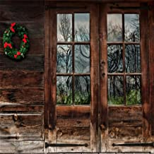 Baocicco Rustic Wood Door Backdrop 10x10ft Photography Background Grunge Wooden Door Glass Window View Christmas Wreath Wood Texture Wall Rural House Countryside Log Cabin