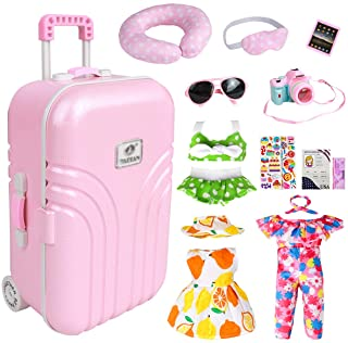 18 Inch Doll Travel Play Set - Doll Accessories with Carry on Suitcase Luggage, 3 Sets of Doll Clothes, Doll Travel Gear P...