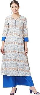 Tissu Women's Blue & Orange Floral Printed Kurta With Palazzos