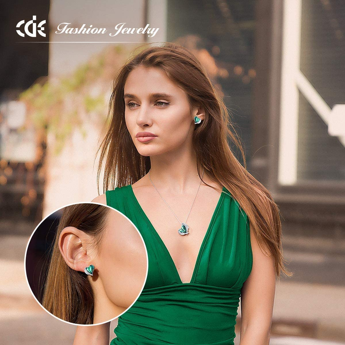 CDE Love Heart Bracelet and Earrings Jewelry Set for Women Rose Gold/Sliver Tone Crystals Birthstone Mothers Day Jewelry Gifts for Women Party/Anniversary/Birthday