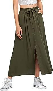Milumia Women Button Down Skirts A line Plain Basic Maxi Bottom Dress