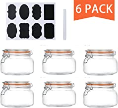 Encheng 16 oz Glass Jars With Airtight Lids And Leak Proof Rubber Gasket,Wide Mouth Mason Jars With Hinged Lids For Kitche...