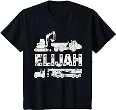 Kids Personalized Kids Name Construction Excavator Elijah T-Shirt