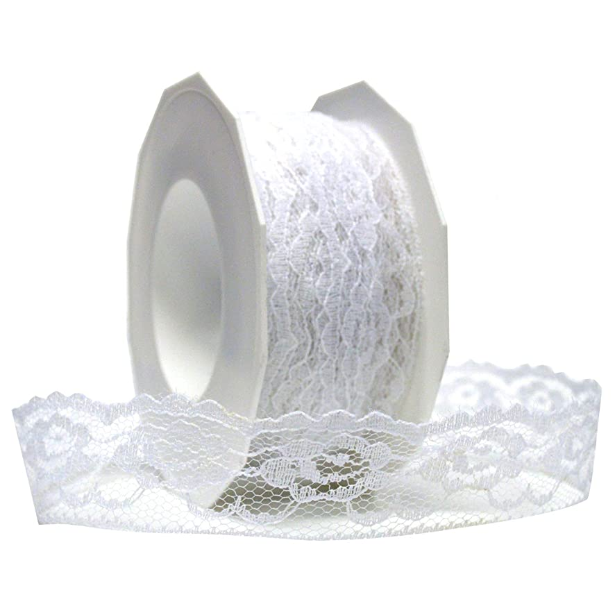 Morex Ribbon Lace Ribbon, 1-3/8 by 20-Inch, White