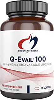 Designs for Health Q-Evail 100-100mg CoQ10 Highly Bioavailable Ubiquinone - Coenzyme Q10 with MCT + Mixed Tocopherols to P...