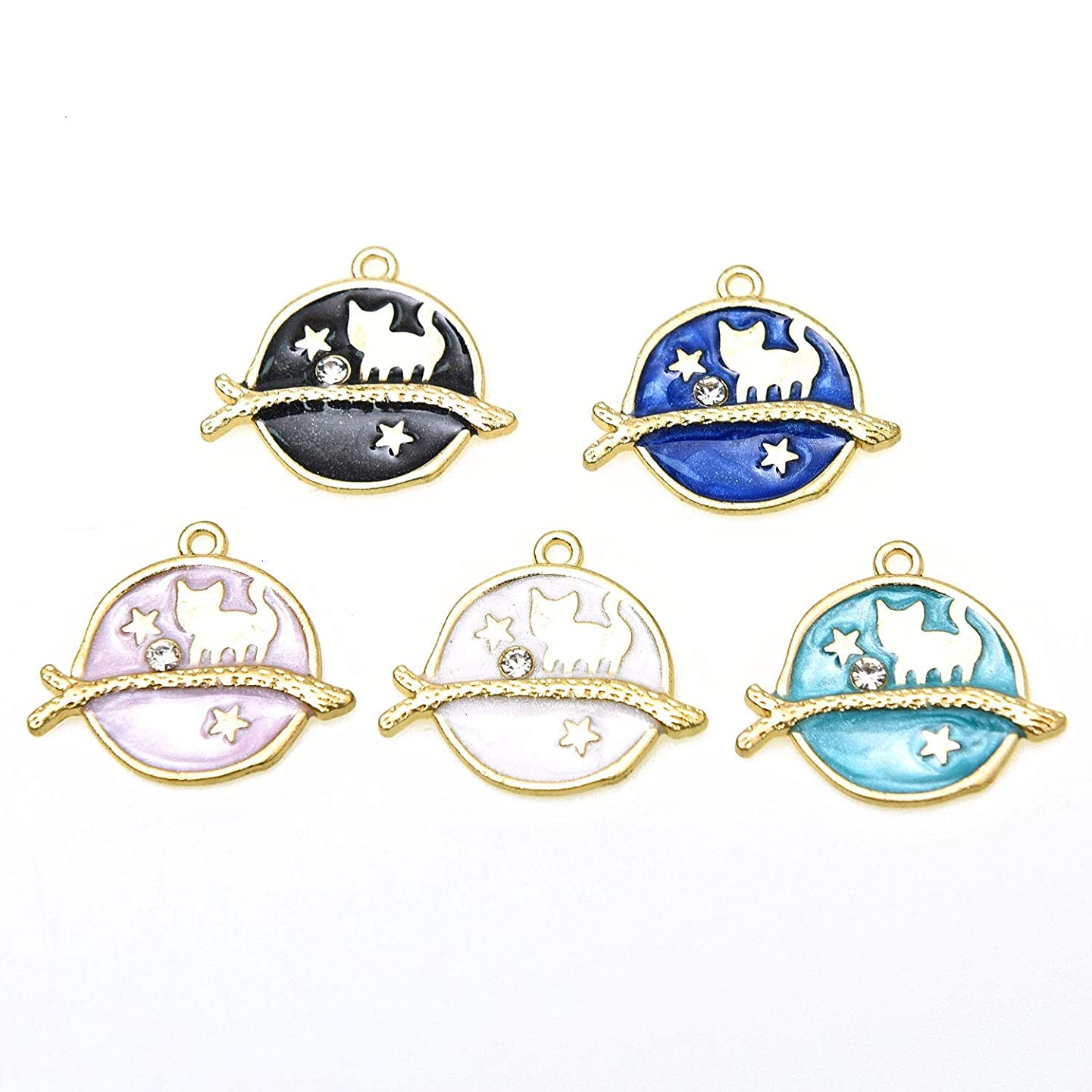 Monrocco 20Pcs Enamel Cute Cat Earth Star Charms Pendant Alloy Charms for Hook Earrings Necklace Jewelry Making Charms