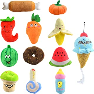 Plazenzon Dog Squeaky Toys Cute Plush Toys for Puppy Small Medium Dogs Variety of Animal Fruits and Vegetables