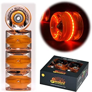 Sunset Skateboards Orange 59mm Cruiser LED Light-Up Wheels Set with ABEC-7 Carbon Steel Bearings (4-Pack)