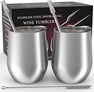 Stainless Steel Stemless Wine Glass Tumbler 2 Pack 12 oz | Double Wall Vacuum Insulated Wine Tumbler with Lids and Straws Set of Two for Coffee, Wine, Cocktails, Ice Cream