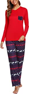 Image of Christmas Red Snowflake Reindeer Pajamas for Women - See More Designs