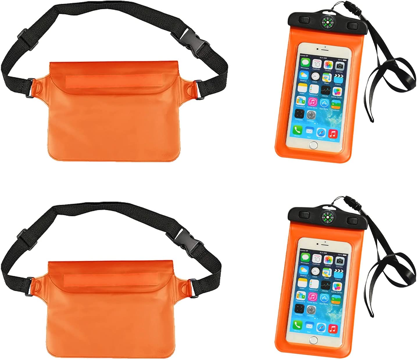 Waterproof Phone Pouch, Universal Waterproof Pouch Cellphone Dry Bag Case, Underwater Cell Phone Dry Bag, Universal Cell Phone Waterproof Case for Beach Kayaking Travel, 2 Pack (Orange)