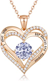 Forever Love Heart Necklace 925 Sterling Silver Rose Gold...
