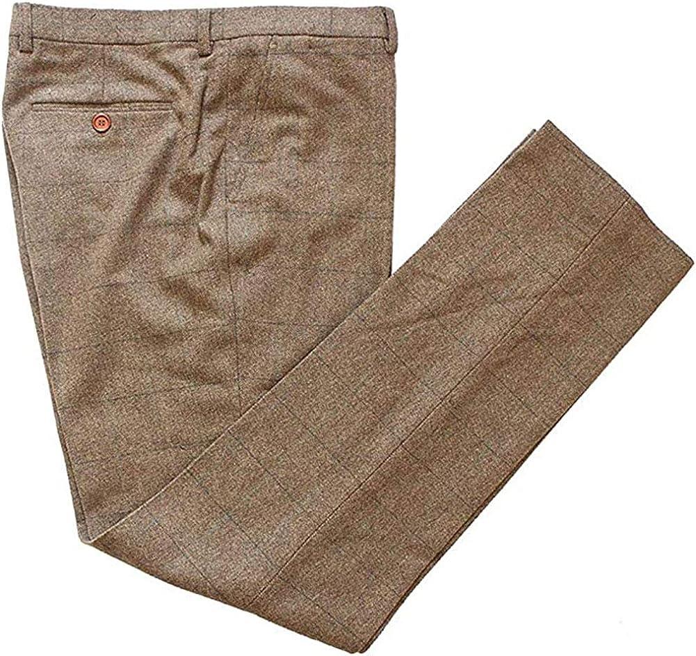 Wemaliyzd Men's Expandable Waist Herringbone Checkered Classic Fit Pants