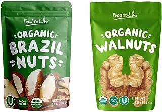 Organic Nuts Bundle - Organic Brazil Nuts, 1 Pound and Organic Walnuts, 1 Pound - Non-GMO, Kosher, Raw, Vegan