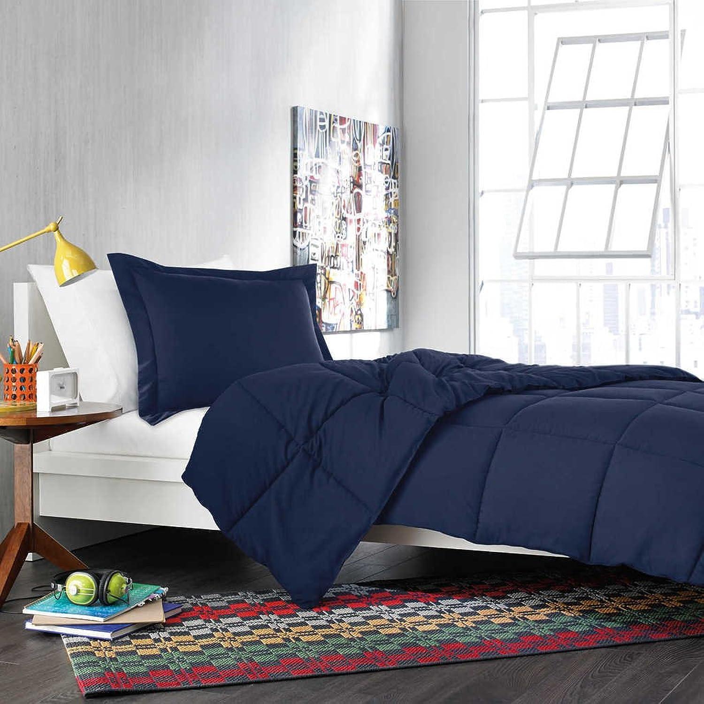 Dreamz Parure de lit Super Doux 400Fils 100% Coton 1Housse de Couette (100g m2 Fibre Fill) Euro Grande Unique, Bleu Marine Solide en Coton égypcravaten 400Fils Doudou