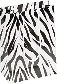 10 pcs Medium Zebra Glossy Shopping Paper Gift Sales Tote Bags with Blank Message Tag 4.75