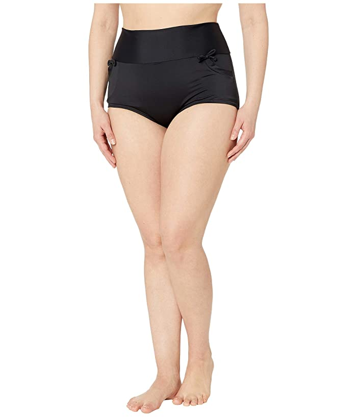 Unique Vintage Plus Size Gilda High-Waist Swim Bottoms (Black) Women