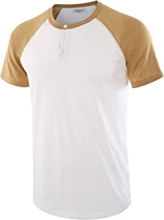 Men's Casual Short Sleeve Raglan Henley T-Shirts Baseball Shirts Tee