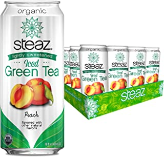 Sponsored Ad - Steaz Lightly Sweetened Iced Green Tea, Peach, 16 Fl Oz, Pack of 12
