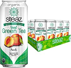 Steaz Organic Iced Green Tea with Peach, Lightly Sweetened, 16 OZ ( Pack - 12)