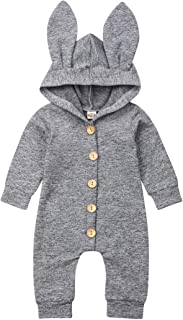 JRPONY Baby Boy Girl Long Sleeve Hooded Romper Bunny Ears Jumpsuits Fall Winter Clothes Outfits Set