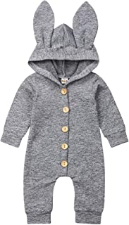 Unisex Baby Outfits Long Sleeve One Piece Hooded Rabbit Ears Solid Color Bodysuit Jumpsuit Cute Costume for Newborn Infant