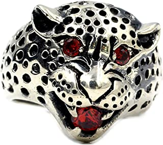 LH&BD Anello da Uomo Retro Eyed Leopard Anello Dominering Domineering Uomo 925 Pietra Preziosa per La Pietre Preziose Domi...