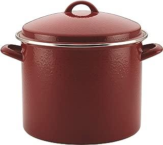 Paula Deen 46324 Enamel on Steel Stock Pot/Stockpot with Lid, 12 Quart, Red Speckle