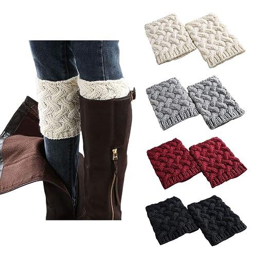 7285e8a5a61 FAYBOX Short Women Crochet Boot Cuffs Winter Cable Knit Leg Warmers