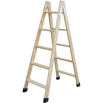 Escalera de tijera de madera con peldaño ancho de 54 mm. Fabricada en pino marítimo sin barnizar. (5 peldaños): Amazon.es: Bricolaje y herramientas