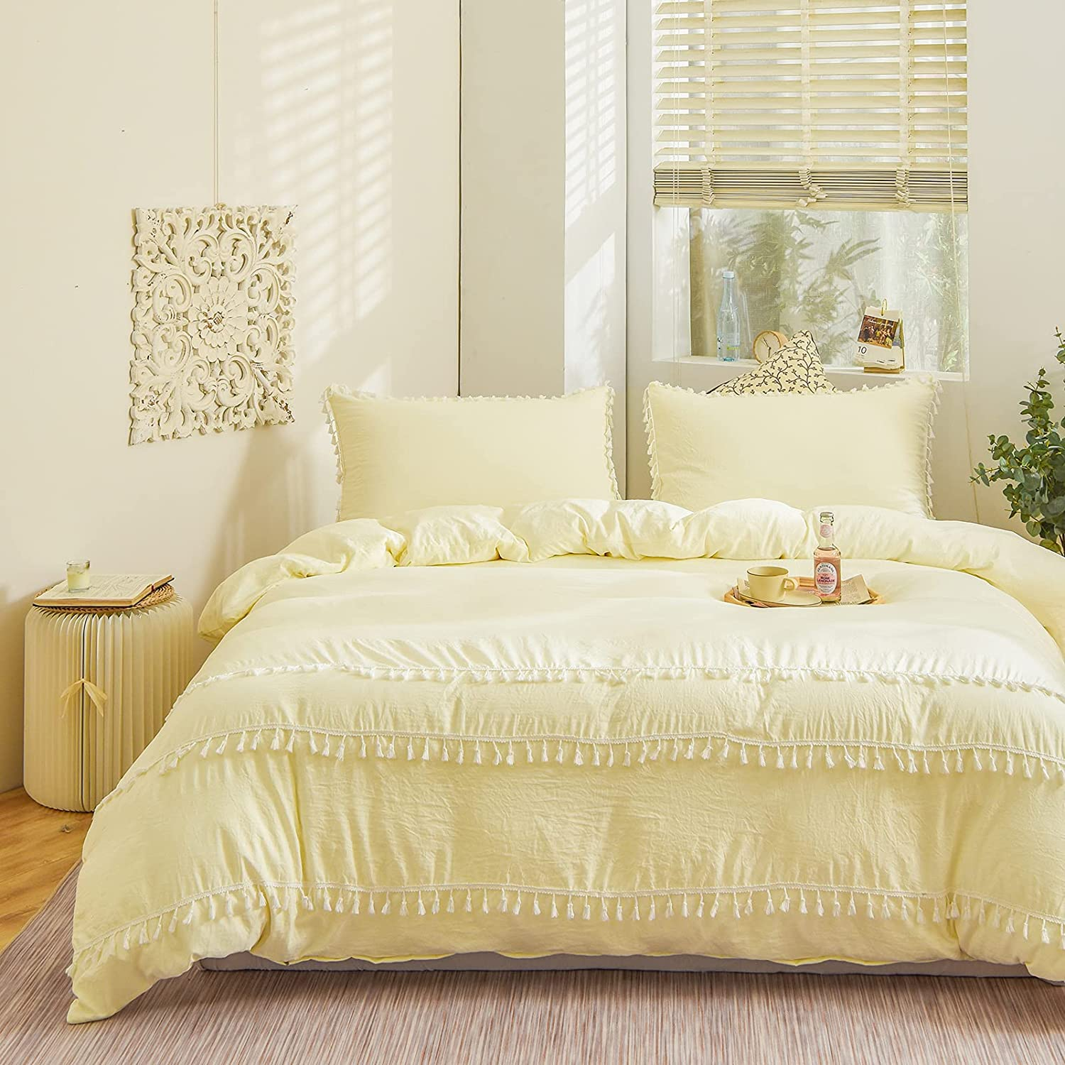 Bedbay Solid Tassel Bedding Set Cream-Colored Tufted Tassel Duvet Cover Set Solid Beige Light Yellow Shabby Chic Bedding Twin 1 Duvet Cover 1 Pillowcase(Cream, Twin)