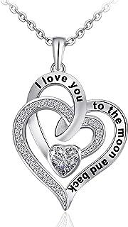 Heart Necklace for Women 925 Sterling Sliver Heart...
