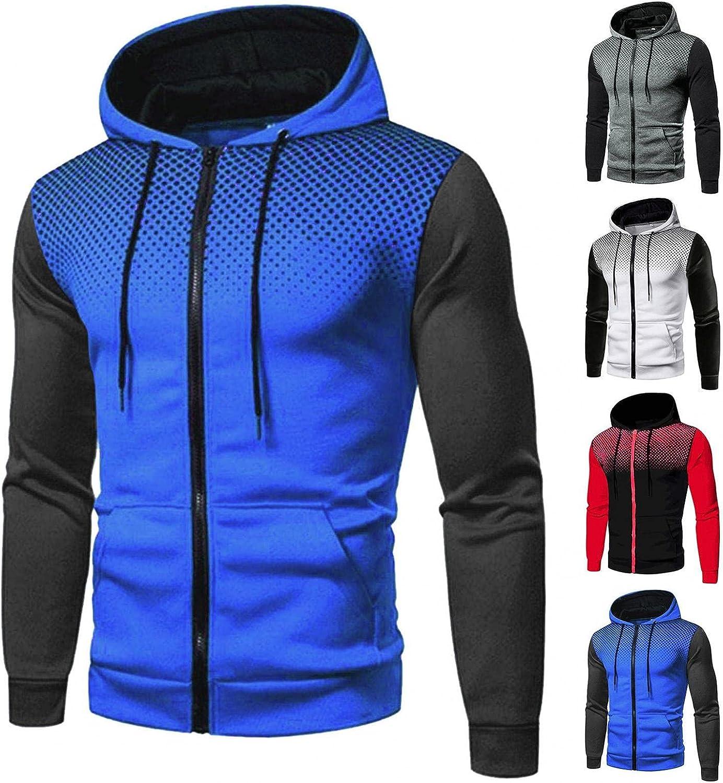 Hoodies for Mens Mens's Autumn & Anime Stitching Casual Polka Dot Zipper Pocket Hooded Mens Hoodies & Sweatshirt