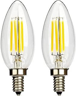 Leadleds 4W LED Filament Candelabra Bulb, E12 Base 2700K Warm White 380 Lumens B11 Candle LED Bulb, 40W Equivalent LED Chandelier Bulb UL Listed, 2-Pack