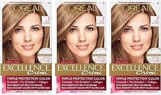 L'Oreal Paris Excellence Creme Permanent Hair Color, Dark Blonde (Pack of 3)