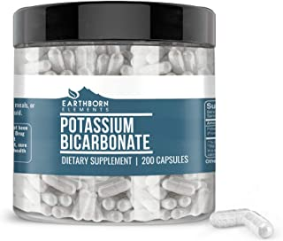Potassium Bicarbonate Capsules, 200 Capsules (800 MG per Serving) (200-Day Supply) by Earthborn Elements, Lab-Tested, High-Quality and Gluten-Free Potassium Supplement