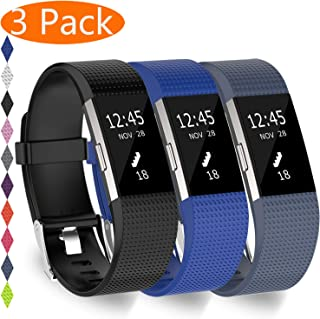 KingAcc Compatible Fitbit Charge 2 Bands,  Soft Silicone Replacement Band for Fitbit Charge 2,  Metal Buckle Fitness Wristband,  3-Pack Sport Strap for Women Men,  Large Small