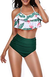 Fantastic Zone Women Retro High Waisted Bikini Set Halter Neck Two Piece Swimsuit Bathing Suit