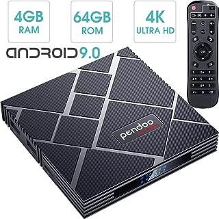 pendoo Android 9.0 TV Box 4GB RAM 64GB ROM, X10 MAX Android TV Box RK3318 Quad-Core 64Bits Dual WiFi 2.4G/5G Bluetooth 3D 4K Ultra HD H.265 USB 3.0 Android Box