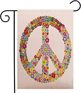 Custom Double Sided Seasonal Garden Flag Groovy Decorations Floral Peace Sign Summer Spring Blooms Love Happiness Themed Welcome House Flag for Patio Lawn Outdoor Home Decor, Polyester 12 x 18 inch
