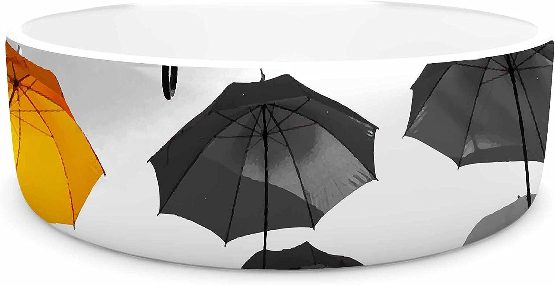 KESS InHouse 888 Design Umbrellas  orange Black Pet Bowl, 4.75