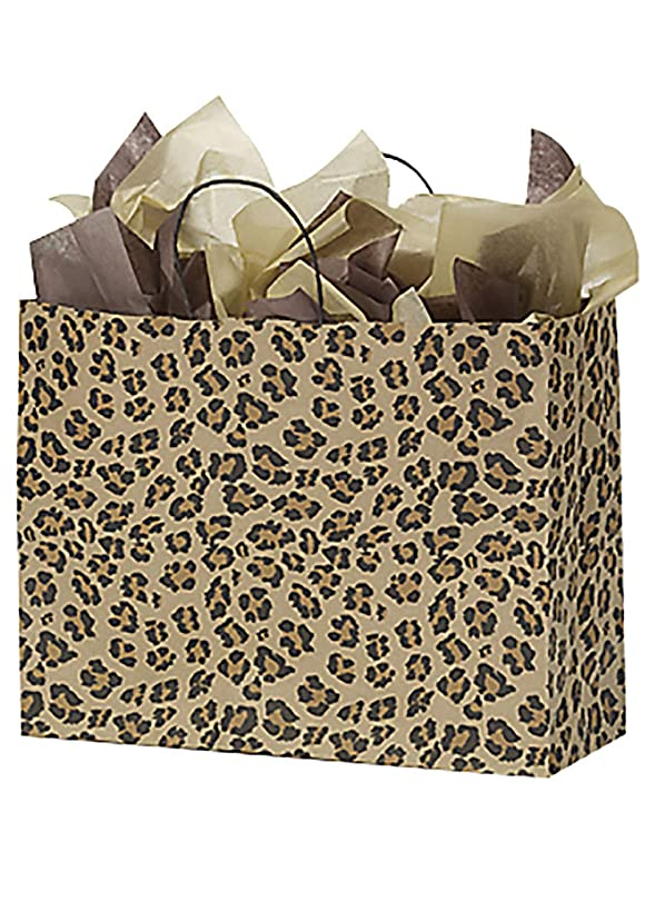 "SSWBasics Brown Leopard Paper Shopping Bags - (16""L x 6""D x 12 ?""H) Case of 100"